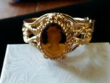 Vintage Gold Toned Cameo Bracelet Carved In Amber Glass w/Locking Clasp Antique