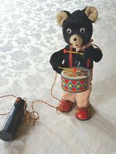 Alps Cragstan 1950's Barney Bear Drummer Boy Tin Toy Battery Operated Vintage