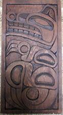 "Ksan NW Coast Native Indian Carved Bear Red Cedar Panel by Randy D. 17"" x  9"""