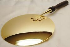 GOLD PLATED COMMUNION PATEN WITH WOOD HANDLE - 56 (CHURCH, RELIGIOUS CO.)