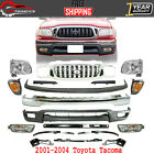 Front Bumper Chrome Kit Brackets Retainer Lamps For 2001-2004 Toyota Tacoma
