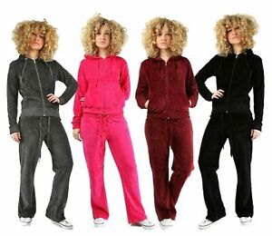 New Ladies Women Full Tracksuit Hoodie Trousers Velour plus sizes