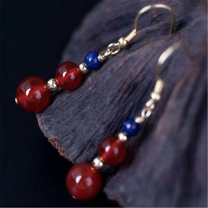Natural Red agate lapis lazuli Earrings Dangle Ms gift Hook New Year Fashion