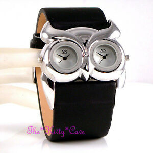 Stunning Designer Black Silver Ladies Owl Bird Twin Time Dual Multi Dial Watch
