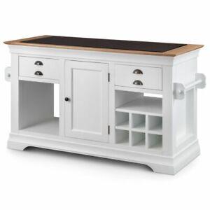 Kansas white painted furniture large granite top kitchen island unit worktop