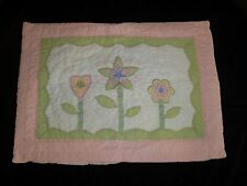 Pottery Barn Kids STD Sham Floral Pink Gingham Green Ribbon Applique white heart