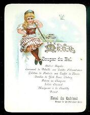 Fine Chromolithograph Embossed Dinner Dance Menu, Hotel du Quirinal, Rome 1895