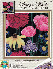 Needlepoint Kit ~ Design Works Midnight Floral Flowers Picture / Pillow #DW2615