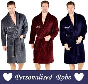 Personalised Mens Gent Warm Super Soft Dressing Gown Robe Bathrobe GIFT PRESENT