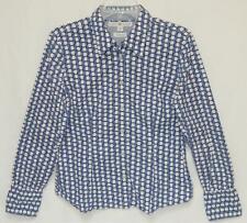 TOMMY HILFIGER Women's Blue White Geometric Print L/S Button Down Shirt Size L