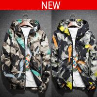 Men's Casual Hoodie Coat Zip Thin Hooded Jacket Wind Breaker Sport Loose Tops