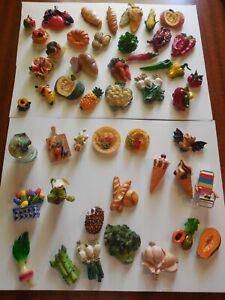 ❤️ 48  Lot Vtg Fruit Veggie  Fake Food  Fridge Magnets