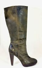 Frye Harlow Campus Brown Distressed Leather High Heel Tall Boots Size 9.5