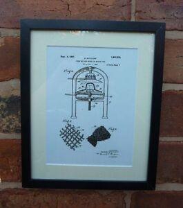 USA Patent vintage ladies STRAW HAT MACHINE millinery MOUNTED PRINT gift 1922