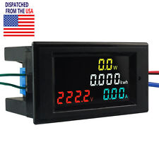 Us Ac 80 300v 100a Lcd Digital Voltmeter Ammeter Volt Amp Power Kwh Panel Meter