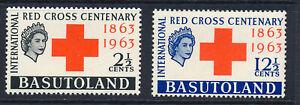 BASUTOLAND 1963 RED CROSS CENTENARY SG81/82 BLOCKS OF 4 MNH