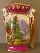 Antique Old Paris Hand Painted Porcelain Figural Scenic Vase 14 1/2'