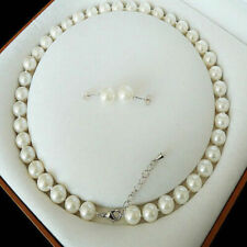 8mm White Akoya Cultured Shell Pearl Necklace Earring Jewelry Set Gift 18'' AAA