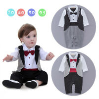 Kids Toddler Baby Romper Boys Gentleman Wedding Formal Dressy Tuxedo Suit 0-18M