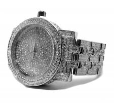 Mens Luxury Iced Out Bling Hip Hop White Gold PT Bling Simulated Diamonds Watch