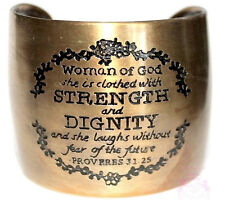 Woman of God Proverbs 31 Laugh Strength Dignity Antique Gold Tone Cuff Bracelet