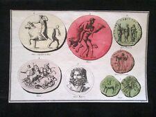 Giove Egioco,Filalete,Toro Incisione colorata a mano del 1820 Mitologia Pozzoli