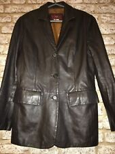 Vintage 80's Buttery Soft Calf Leather Dark Brown Blazer Uk 12 Vgc