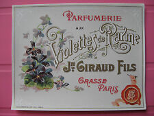 1 ANCIENNE ETIQUETTE PARFUM VIOLETTES PARME/ANTIQUE PERFUME LABEL FRENCH PARIS