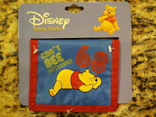 "Disney Winnie the Pooh Blue Bifold Wallet w/ Pooh ""Can't BEE Bothered"" Red/Blue"
