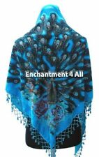 Beaded Triangle Silk Velvet Peacock Scarf Wrap Turquoise