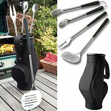 Brundle Gardener 3 Piece BBQ Golf Bag & Grips Steel Barbacue Tool Utensils Set