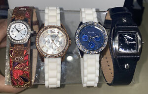 Fossil chronograph & Analog Women's Watch Set Of 4. DEAD.  Never Used! Crystals!