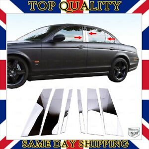Chrome Door Pillar Post Trim 6 pcs S.STEEL Fits Jaguar X-TYPE Saloon 2001-2009