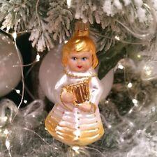 Engelskind mit Lyra silber//gold 10cm Schatzhauser Thüringer Glas und Weihnachtss