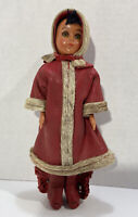Vintage Heritage Dolls Native American Indian Red leather beading Sleepy Eyes
