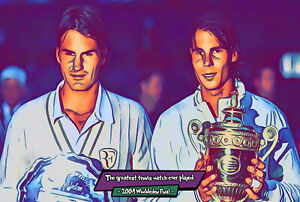 Federer vs Nadal - 2008 Wimbledon Comic Icons Art Print (Available In 4 Formats)