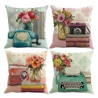 Vintage Cotton Linen Throw Pillow Case Waist Sofa Cushion Cover Home Car Decor