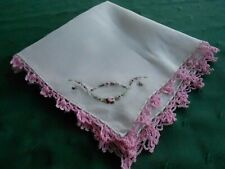 WHITE HANKIE,BEAUTIFUL WHITE LINEN WITH HAND EMBROIDERY AND PINK CROCHET, C.1940