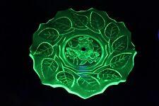 Art Deco Uranium Glass 'Roses & Leaf' Cakestand by Bagley