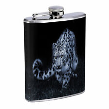 Snow Leopard Em2 Flask 8oz Stainless Steel Hip Drinking Whiskey