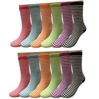 Fashion New 12 Pairs Dozen Womens Multi Color Crew Socks Cotton Size 9-11 Stripe