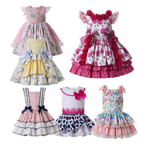 Kids Girls Summer Spanish Frilly Dresses Party Wedding Occasion Dress Polka Dot