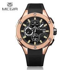 HOT!! MEGIR Men Quartz Watch Silicone Strap Luminous Chronograph Mineral Glass