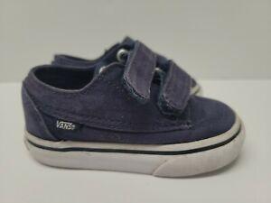 VANS Toddler Boys 4.5 Blue Slip On Shoes Hook And Loop