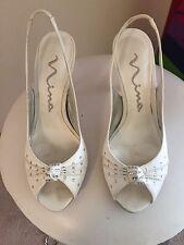 Nina White Silk Luster Sandals