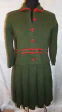 Piccolino American Edition M Gino Paoli Skirt Suit Womens Vtg Knit Olive Green