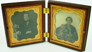 1860s Double Ambrotype Husband ,wife & daughter In Stunning Union Case