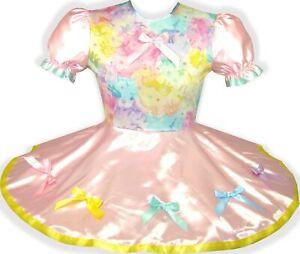 READY 2 WEAR | Pink Rainbow Satin Unicorn Adult Little Girl Sissy Dress LEANNE