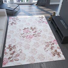 Moderner Designer Teppich, 3D Effekt und Lurex, Blumen Muster, Rosa Beige Creme