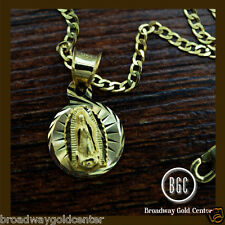 Round Mama Mary Pendant w/ Cuban Link Chain 14k Solid Yellow Gold ON SALE!!!
